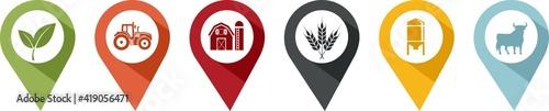 Fotografia pin of various symbols of agriculture