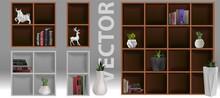 Bookshelf With Books And Figurines -bibliography, Encyclopedia And Handbooks. Retro Interior Furniture. Bookshelf