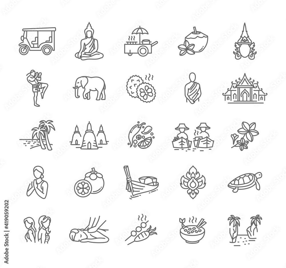 Fototapeta Thailand icon set - collection of vector thin line style icons, Thai national symbols