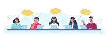 Customer Support Operators. Call Center Employees Help Clients, Helpdesk Concept Office Men And Women With Headset Give Professional Advice. People Answering To Clients Questions Vector Set