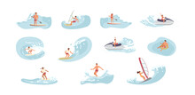 Bundle Of Water Sports People. Men An Women Ride The Barreled Rushing Waves Or Floating On Paddle Board. Happy Characters Isolated On White Background. Flat Art Vector Illustration