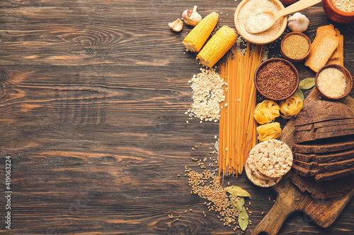 Obraz Set of different products on wooden background - fototapety do salonu