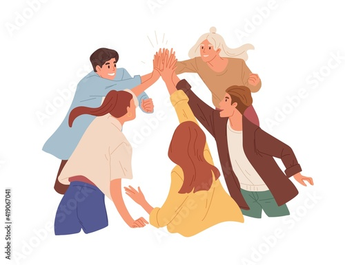 Team of happy colleagues giving high five, celebrating achievement, victory and success. Concept of unity, partnership and togetherness. Colored flat vector illustration isolated on white background - fototapety na wymiar