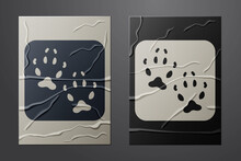 White Fox Paw Footprint Icon Isolated On Crumpled Paper Background. Paper Art Style. Vector.