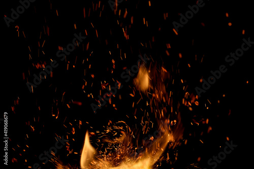 Fotografie, Tablou fire flame with sparks on black background