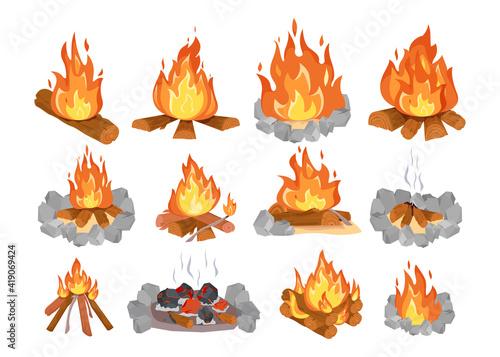 Fényképezés Creative colorful wood campfire flat illustration set