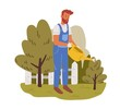 Young gardener working in garden in summer. Male handyman watering and cultivating plants on backyard. Colored flat vector illustration of professional worker in uniform isolated on white background