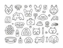 Set Of Heads Of Different Breeds Dogs And Canine Accessories. Collar, Leash, Muzzle, Carrier, Food, Clothing. Doggy Faces. Hand Drawn Isolated Vector Illustration In Doodle Style On White Background