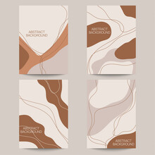Set Of Abstract Backgrounds With Organic Flowing Shapes And Freehand Drawn Lines. Vector Illustration In Pastel Colors. Template For Booklet, Flyer, Cover, Magazine, Invitation.