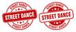 street dance stamp. street dance label. round grunge sign