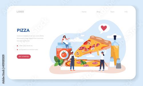 Pizza maker web banner or landing page Fototapet