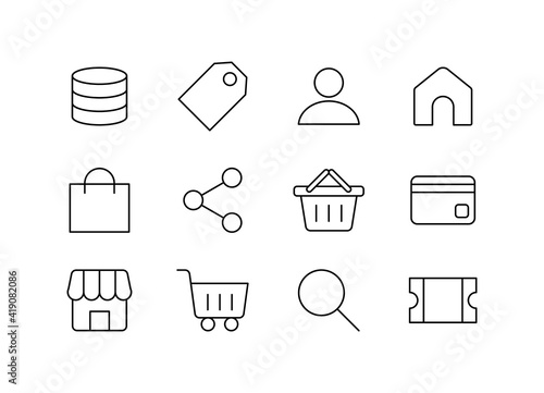 Fotografija Set of web and app icons related to internet shopping.