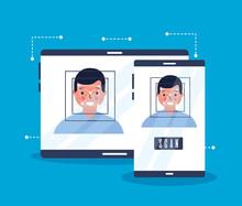 Man Face Scan Biometric Digital Technology