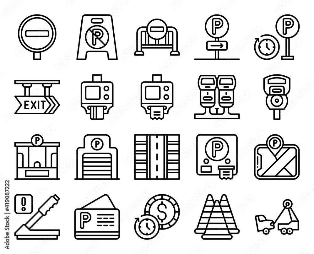Fototapeta Parking lot related line icon set 3, vector illustration