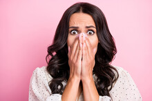 Portrait Of Impressed Worried Person Arms Covering Face Staring Camera Isolated On Pink Color Background
