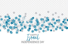Israel Independence Day. National Holiday Design Template. Israeli Symbolics Banner Or Flyer With Blue And White Flag Colors Pentacle Stars Overlay. Vector Illustration.