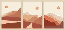 Abstract Landscape Illustrations. Mountains, Sun, Sunset, Desert, Hills Minimalist Design. Trendy Mid Century Art, Boho Home Decor, Wall Art.