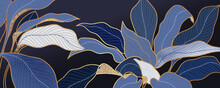 Luxury Blue Leaf Background Vector With Golden Metallic Decorate Wall Art