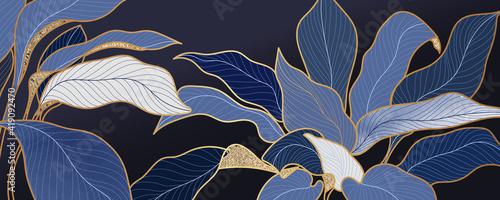 Fotografia Luxury blue leaf background vector with golden metallic decorate wall art