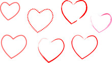 Hand Drawn Hearts. Red Hearts. Heart Simple Drawings. Valentine's Day. February. Hearts Isolated On A White Background. Vector Hand Drawn Symbols For Love