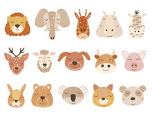 Set Of Baby Animal Faces. Vector Illustration.