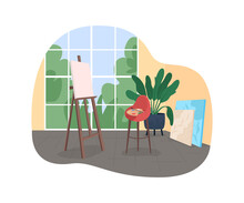 Artist Workshop 2D Vector Web Banner, Poster. Easel With Canvas. Chair With Palette And Brush. Creative Space Flat Scene On Cartoon Background. Home Studio Printable Patch, Colorful Web Element