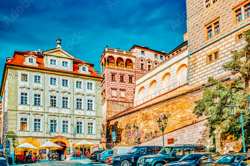 PRAGUE, CZECH REPUBLIC-SEPTEMBER 5, 2015: Quarters and streets with people on Prague's Mala Strana(Lesser Town of Prague). District of the city of Prague, Czech Republic