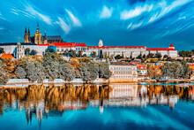 View Of Prague Castle From Waterfront  Vltava River In Prague.Czech Republic.
