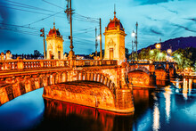 PRAGUE, CZECH REPUBLIC- SEPTEMBER 13, 2015: Beautiful View Old Bridge Legii (Most Legii) From The Waterfront Of The Vltava River With People.Prague.
