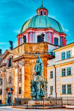 Monument Karolo Quarto(IV).Monument To The Holy Roman Emperor Charles IV Near Saint Francis Of Assisi Church.Prague.Czech Republic.
