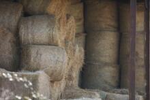 Barn Full Of Round Hay Bales