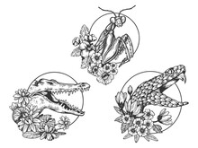 Mantis Snake Crocodile Heads Animal Set Tattoo With Flowers Sketch Engraving Vector Illustration. T-shirt Apparel Print Design. Scratch Board Imitation. Black And White Hand Drawn Image.