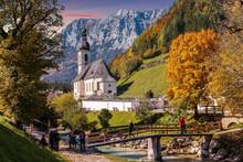 Amazing Nature Landscape. Impressive Autumn Scenic Landscape In The Bavarian Alps. Famous Parish Church Of St. Sebastian In Ramsau In Falltime, Nationalpark Berchtesgadener Land,  Bavaria, Germany