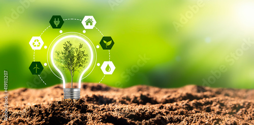 Renewable, sustainable energy sources concept - fototapety na wymiar
