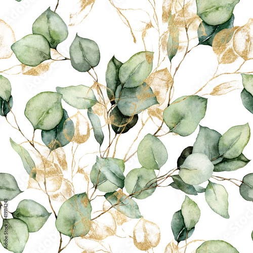 Watercolor seamless pattern of gold eucalyptus branches, seeds and leaves. Hand painted tropical plants isolated on white background. Floral illustration for design, print, fabric or background. - fototapety na wymiar
