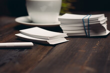 Coffee Cup On The Table Business Cards Office Desktop