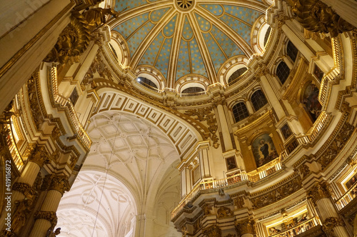 Ceiling and dome of Granada Cathedral, Spain Fototapet