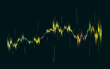 Creative Representation Of Sound Beat Or Music Rhythm, Amplitude Or Range. Yellow, Green And Blue Colors On Black. Simple And Conceptual Vision.