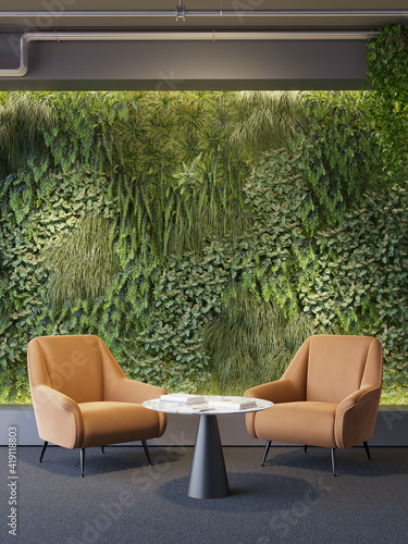 Fototapeta 3d render of a Vertical green wall in modern office area with two orange lounge