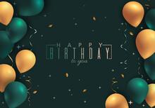 Happy Birthday Green Invitation Card With Balloons