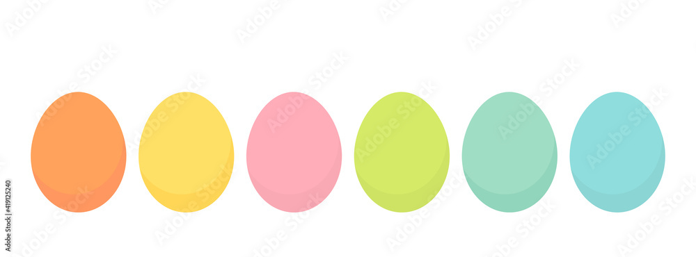 Fototapeta Easter eggs collection in bright pastel colors. Spring holiday.