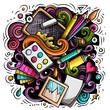 Artist cartoon doodle illustration. Funny Art design.