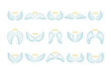 Fairy Wings With Nimbus Set. Collection Hand Drawn Blue Angel Wings With Halo On White Background.