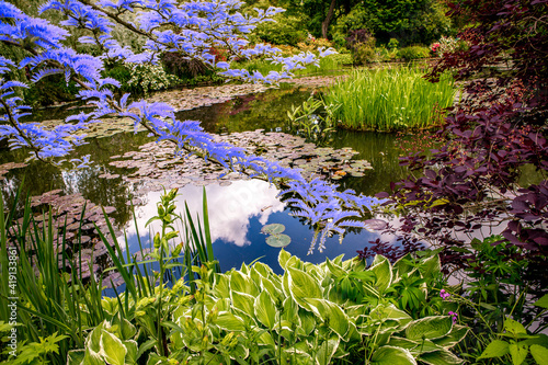 Canvas Print Pond, trees, and waterlilies in a french garden