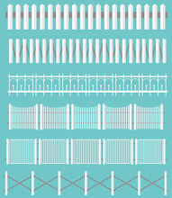 Different White Fences Set. Outdoor Landscape. Wood And Metal Fence. Vector