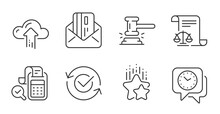 Legal Documents, Bill Accounting And Judge Hammer Line Icons Set. Ranking Stars, Approved And Cloud Upload Signs. Clock, Credit Card Symbols. Justice Scale, Audit Report, Judgement. Vector