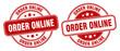 order online stamp. order online label. round grunge sign