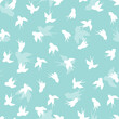 Seamless pattern with white swallow silhouette on blue background. Cute bird in flight. Vector illustration. Doodle style. Design for invitation, poster, card, fabric, textile