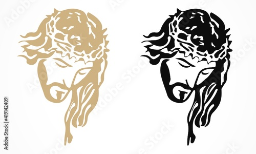 Fotografie, Obraz Jesus With Thorns Decal vector file | Editable file any changes can be possible