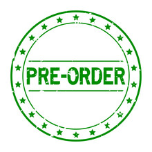 Grunge Green Pre Order Word With Star Icon Round Rubber Seal Stamp On White Background